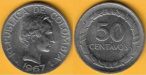 Colombia - 50 Centavos 1967 (Km# 228)
